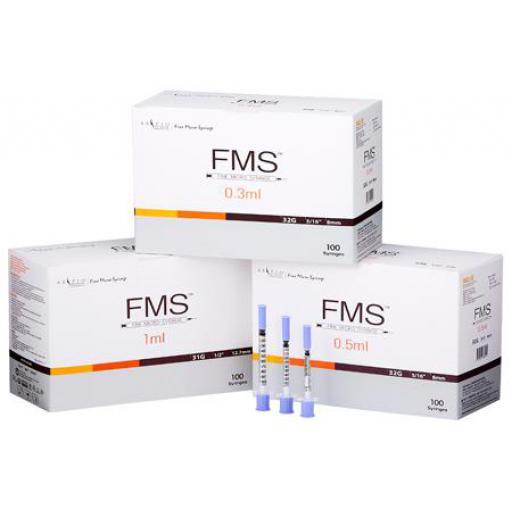 FMS Microfine 0.3ml & 0.5ml 32G , 8 mm Insulin Needles